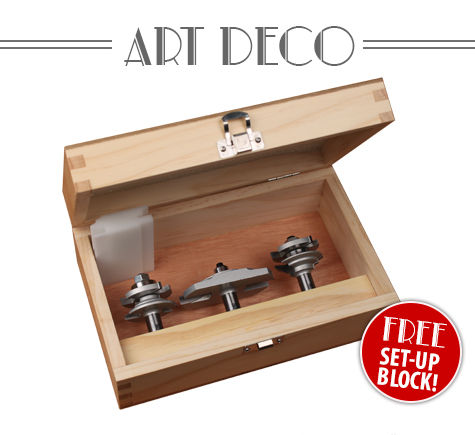 Our cabinetmaking Art Deco router bit set brings the distinctive style of the 1920s and 1930s to your woodworking projects