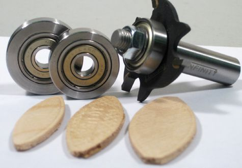 Biscuit joining router bit set