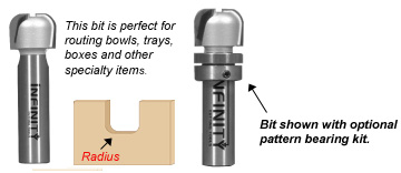 Bowl and tray router bit with optional bearing