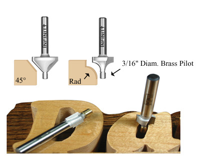 Chamfer and roundover router bits with a brass guide
