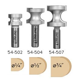 A set of our three most popular bull nose router bits for milling beaded edges with a single pass