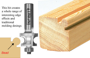 This edge beading router bit creates a whole range of interesting edge effects and traditional moulding designs
