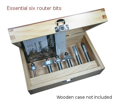 A high quality set of the six most useful router bits for every level of woodworker and a bearing set