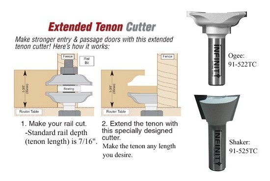 Extended tenon router bits to make longer tenons for rail and stile doormaking