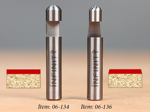 Solid carbide flush trim router bits for trimming laminate counter tops and shelves