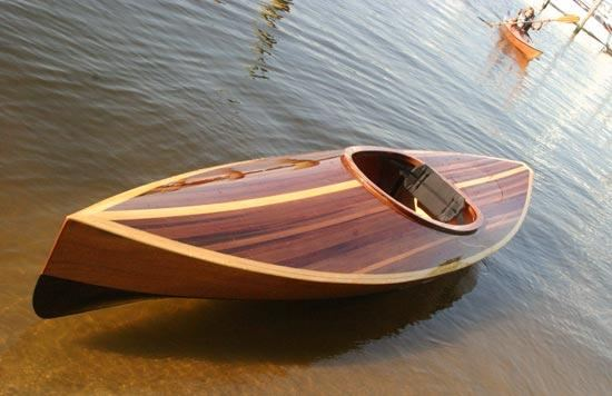 A kayak with a cedar-strip deck