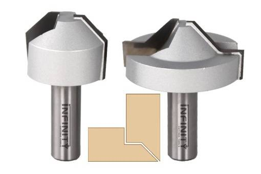 Lapped mitre router bits designed to create strong self-aligning mitre joints in plywood and MDF