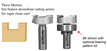 Two-flute mortice and tenon router bits that deliver clean edges, flat bottoms and perfect shoulders on tenons