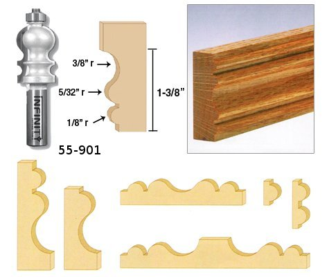 Our large moulding router bit profile is perfect for wide moulding