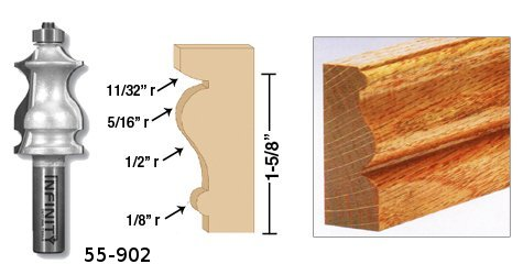 A single cut with our traditional moulding router bit provides beautiful mouldings