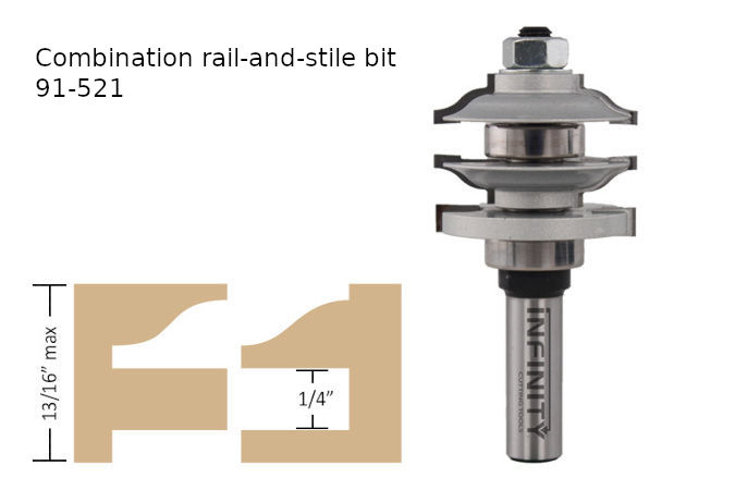 Combination rail and stile router bit for cabinet doors