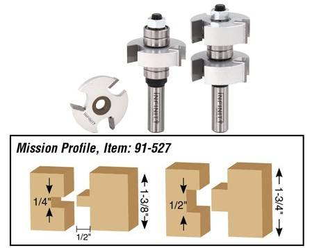 Door making rail and stile router bit set 91-527