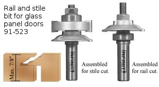 Rail and stile router bit for glass panel doors