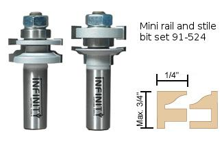 Rail and stile router bits for miniature doors