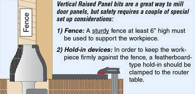 Vertical raised panel router bits create beautiful raised panel doors and drawer faces with speed and ease