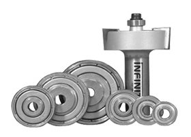 Our rebate (rabbet) router bit sets include seven different sized bearings for altering the cut depth and for flush trim