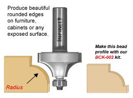 Our roundover and bearing router bits give you a smooth radius that is ideal for the edges of furniture and moulding