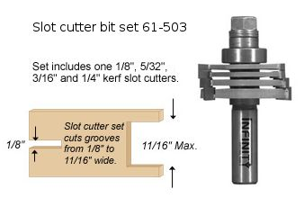 Our three-wing slot cutter router bits allow you to cut a range of grooves, rebates or biscuit slots