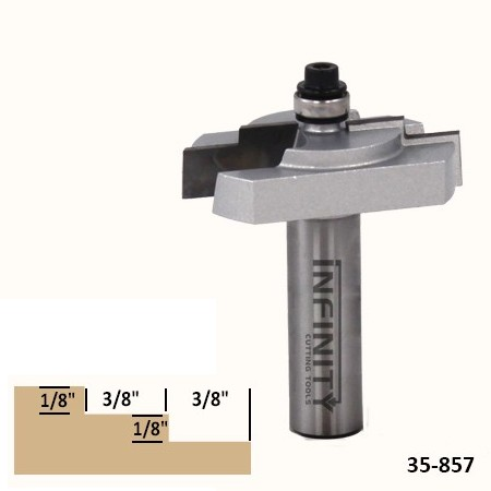 This stepped rebate router bit cuts a double-step on the back of picture and mirror frames for holding the glass and a backing piece
