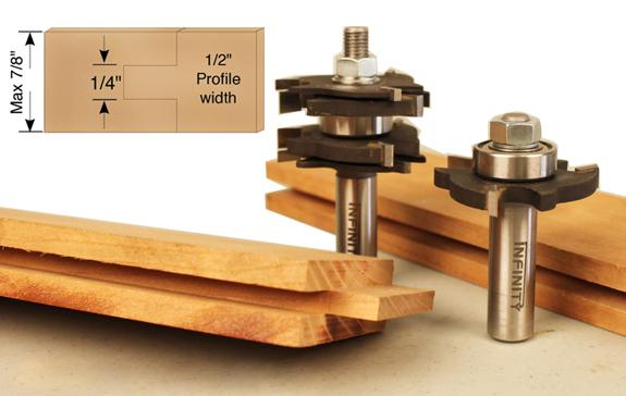 A matched pair of router bits for producing strong and simple tongue and groove joints