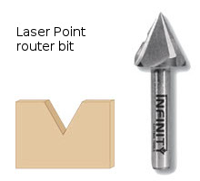 Laser point v-groove router bit with a sharp 60° angle for delicate veining